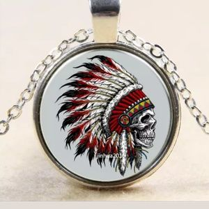 Skull & Feather Headdress Silver & Glass Necklace